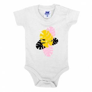 Baby bodysuit Monstera leaves