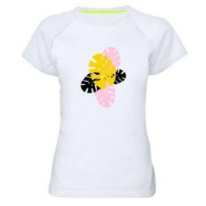 Women's sports t-shirt Monstera leaves