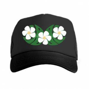 Trucker hat Monstera with flowers - PrintSalon