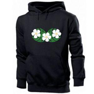Men's hoodie Monstera with flowers - PrintSalon