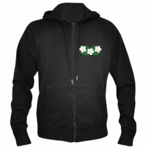 Men's zip up hoodie Monstera with flowers - PrintSalon
