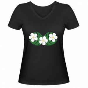 Women's V-neck t-shirt Monstera with flowers - PrintSalon