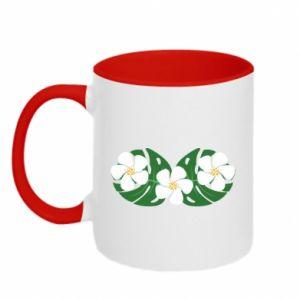 Two-toned mug Monstera with flowers - PrintSalon