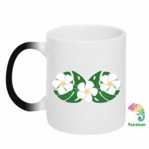 Chameleon mugs Monstera with flowers - PrintSalon