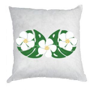 Pillow Monstera with flowers - PrintSalon