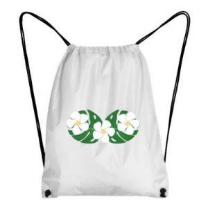 Backpack-bag Monstera with flowers - PrintSalon