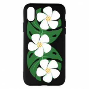 Phone case for iPhone X/Xs Monstera with flowers - PrintSalon