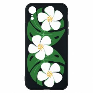 Phone case for iPhone XR Monstera with flowers - PrintSalon