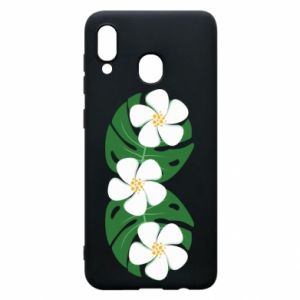 Phone case for Samsung A20 Monstera with flowers - PrintSalon