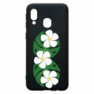 Phone case for Samsung A40 Monstera with flowers - PrintSalon