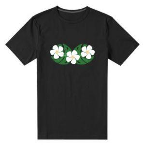 Men's premium t-shirt Monstera with flowers - PrintSalon