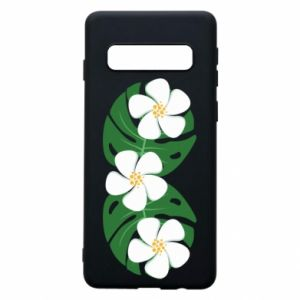 Phone case for Samsung S10 Monstera with flowers - PrintSalon