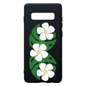 Phone case for Samsung S10+ Monstera with flowers - PrintSalon