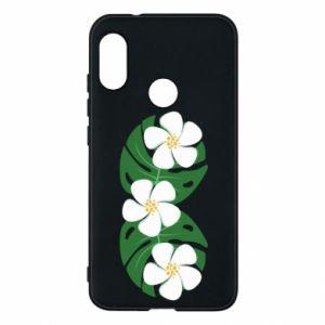 Phone case for Mi A2 Lite Monstera with flowers - PrintSalon