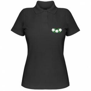 Women's Polo shirt Monstera with flowers - PrintSalon