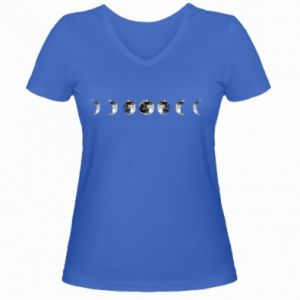 Women's V-neck t-shirt Moon phases - PrintSalon