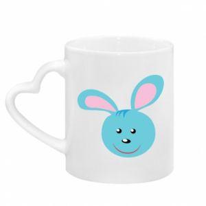 Mug with heart shaped handle Muzzle of blue bunny