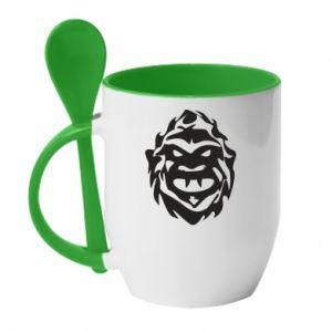 Mug with ceramic spoon Muzzle monster