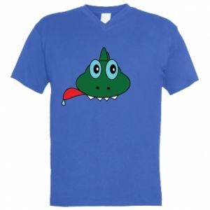 Męska koszulka V-neck Mordka jaszczurka