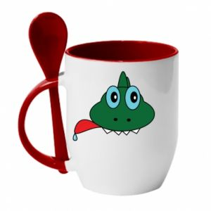 Kubek z ceramiczną łyżeczką Mordka jaszczurka