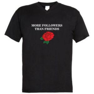 Męska koszulka V-neck More followers than friends
