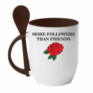 Kubek z ceramiczną łyżeczką More followers than friends