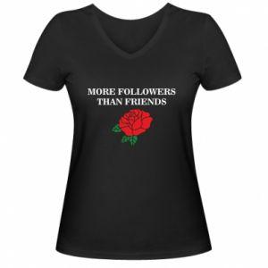Damska koszulka V-neck More followers than friends
