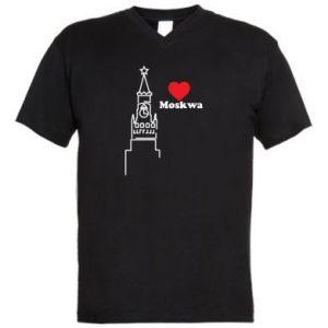 Męska koszulka V-neck Moskwa, kocham cię
