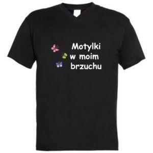 Męska koszulka V-neck Motylki w moim brzuchu - PrintSalon