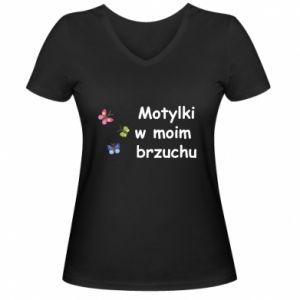 Damska koszulka V-neck Motylki w moim brzuchu