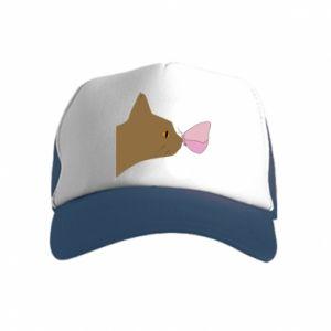 Czapka trucker dziecięca Motyl na nosie kota