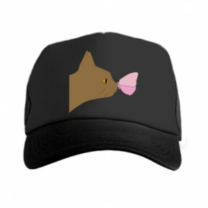 Trucker hat Butterfly on the cat's nose