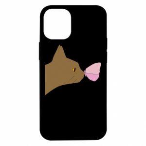 Etui na iPhone 12 Mini Motyl na nosie kota