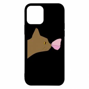 Etui na iPhone 12/12 Pro Motyl na nosie kota