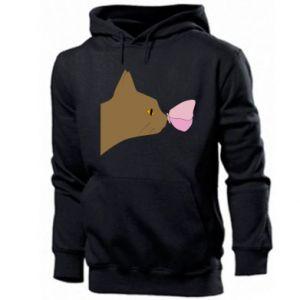 Bluza z kapturem męska Motyl na nosie kota