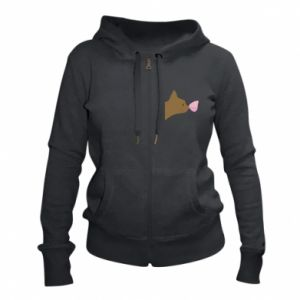 Women's zip up hoodies Butterfly on the cat's nose