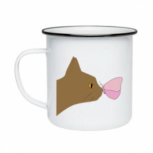 Kubek emaliowany Motyl na nosie kota
