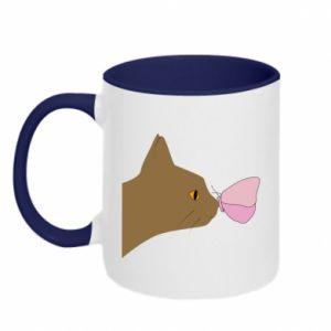 Kubek dwukolorowy Motyl na nosie kota