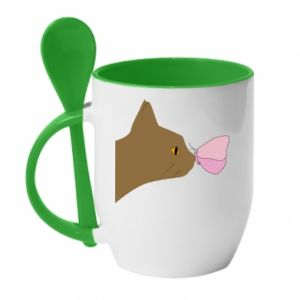 Mug with ceramic spoon Butterfly on the cat's nose