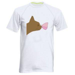 Koszulka sportowa męska Motyl na nosie kota