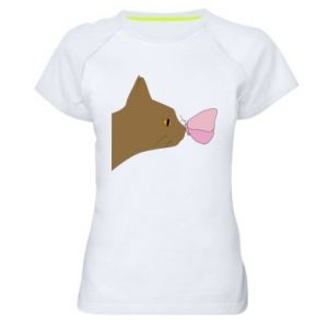 Women's sports t-shirt Butterfly on the cat's nose