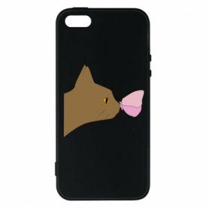 Etui na iPhone 5/5S/SE Motyl na nosie kota