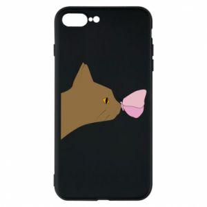 Etui do iPhone 7 Plus Motyl na nosie kota