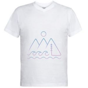 Men's V-neck t-shirt Mountains and the sea