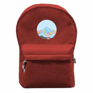 Backpack with front pocket Mountains in a circle