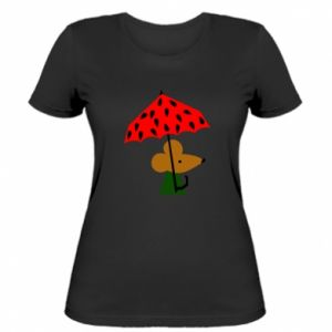 Women's t-shirt Mouse under umbrella