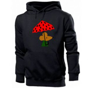 Men's hoodie Mouse under umbrella