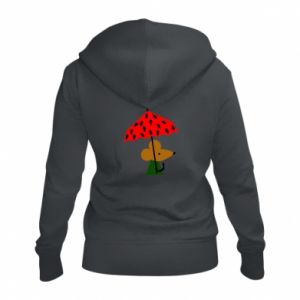 Women's zip up hoodies Mouse under umbrella - PrintSalon
