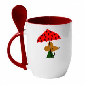 Mug with ceramic spoon Mouse under umbrella - PrintSalon