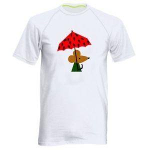 Men's sports t-shirt Mouse under umbrella - PrintSalon